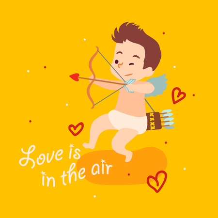 Cute cupid angel aiming from bow. Vector Happy Valentine Day card