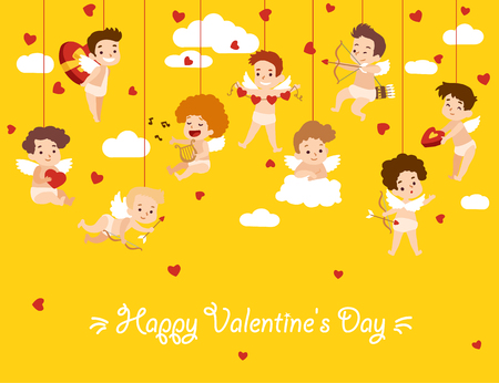 Happy Valentine Day card with hanging cupid angels. Vector illustration Illustration