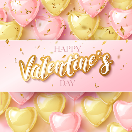 Happy Saint Valentines day greeting card with 3d pink and gold balloon hearts on hand drawn pattern. Vector illustration