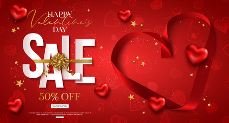 Valentines day sale design with red heart shape silk ribbon. Cut paper style. Vector shopping discount