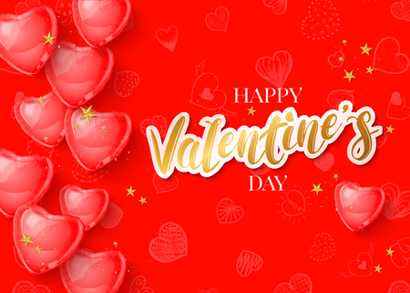 Chic Valentines day background with 3d red balloon hearts cut paper lettering on hand drawn pattern. Vector illustration Illustration