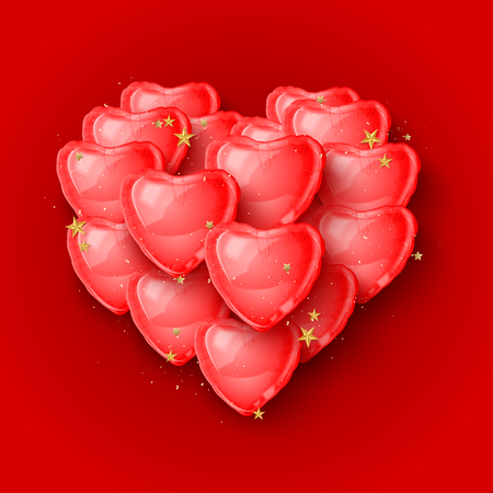 Elegant 3d red heart shaped balloons for Valentines Day card. Vector illustration