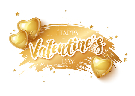 Happy Saint Valentines day greeting card with 3d gold balloon hearts on white background. Vector illustration