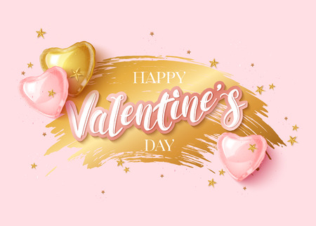 Happy Saint Valentines day greeting card with 3d gold and pink balloon hearts on white background. Vector illustration