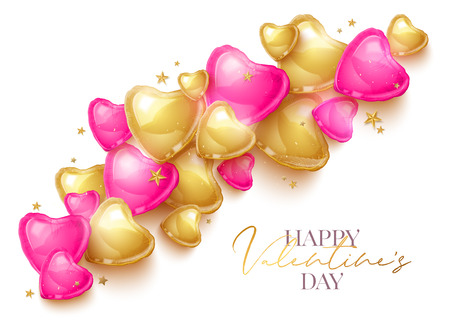 Happy Saint Valentines day greeting card with 3d pink and gold balloon hearts on white background. Vector illustration