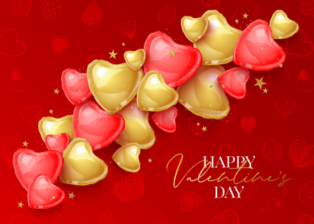 Happy Saint Valentines day greeting card with 3d red and gold balloon hearts on hand drawn pattern. Vector illustration