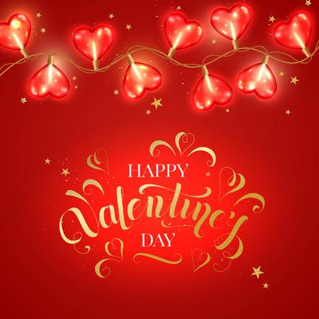 Fondo del día de San Valentín con bombilla en forma de corazón. Ilustración de vector de concepto de amor. Ilustración de vector