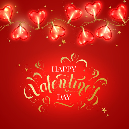Valentine day background with heart shaped light bulb. Love concept vector illustration. Vector Illustration