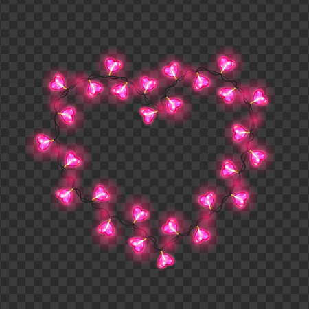 Frame of pink heart shaped bulbs festive garland. Illustration