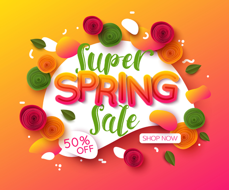 Colorful spring sale background with paper cut flowers and leaves Illustration