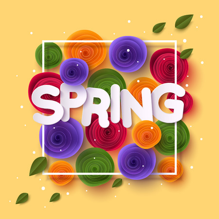 Spring  with paper cut flowers and leaves Illustration