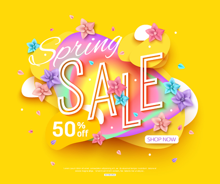 Spring sale banner layout. Abstract shapes. Cut paper style Illustration