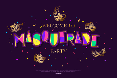 Masquerade in Brazil bright background decorated with masks Illustration
