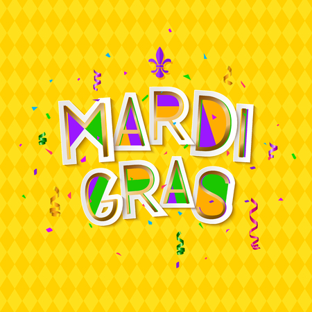 Mardi Gras Carnival background with mask. Cut paper style