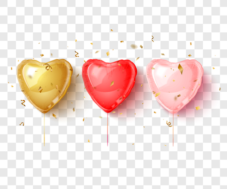 Gold, red and pink hearts balloon. Holiday design. Vector illustration.