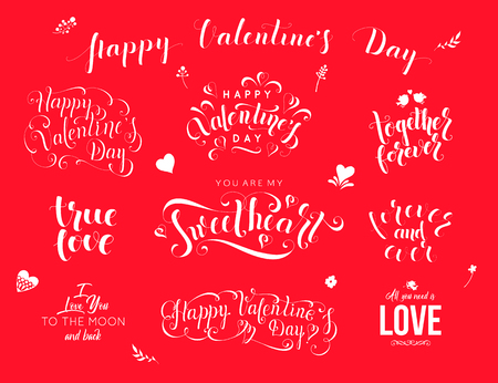 Valentine day hand drawn calligraphy. Love lettering vector illustration.