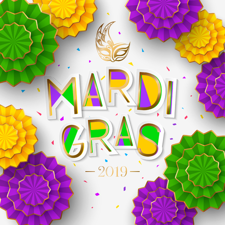 Mardi Gras or Shrove Tuesday lettering design. Colorful paper cut flowers Illustration