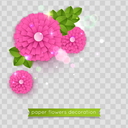 Pink paper cut flowers. Vector eps 10 format