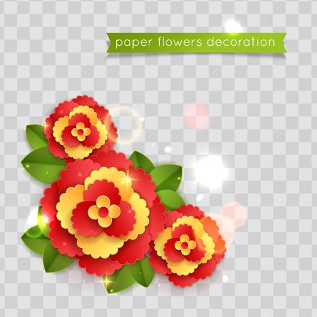 Colorful paper cut flowers. Floral composition. Vector illustration