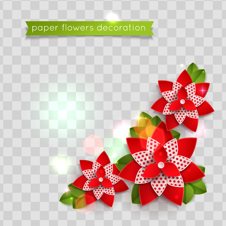 Colorful paper cut flowers. Vector eps 10 format
