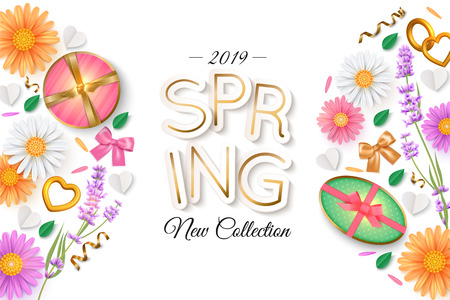 Spring new collection banner layout. Flowers, gift box Ilustração