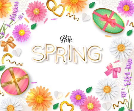 Hello Spring background. Flowers, gift box. Vector illustration