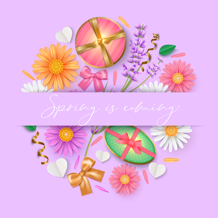 Spring background with chamomile and lavender, gift box and bow