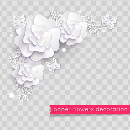 White paper cut flowers. Floral composition. Vector illustration Stock Vector - 123227806