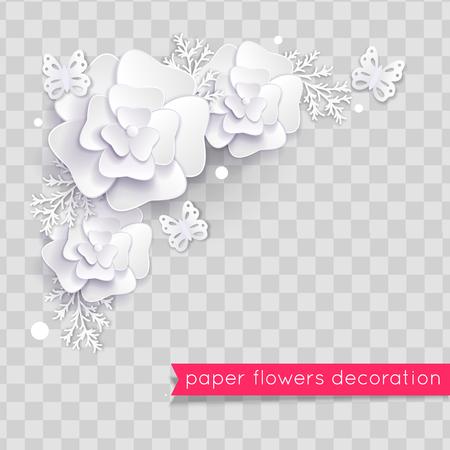 White paper cut flowers. Floral composition. Vector illustration Ilustração