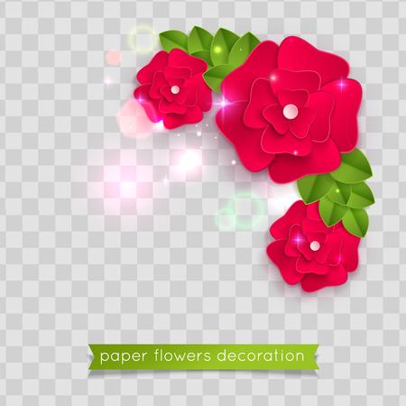 Red paper cut flowers. Vector eps 10 format Ilustração