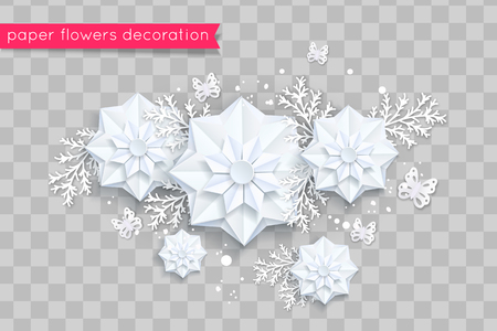 Blue paper cut flowers. Vector eps 10 format Stock Vector - 123227809