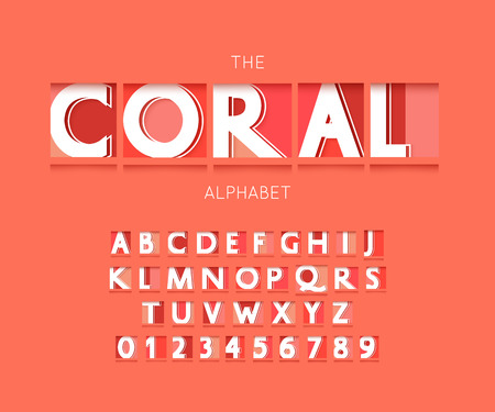 Origami alphabet letters and numbers. Living coral font paper style Stock Vector - 123227810