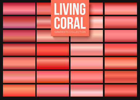 Living coral gradients collection. Rectangular shaped backgrounds with color of the year 2019 Stock Vector - 123227811