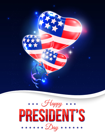 Happy Presidents day holiday design background with ballons