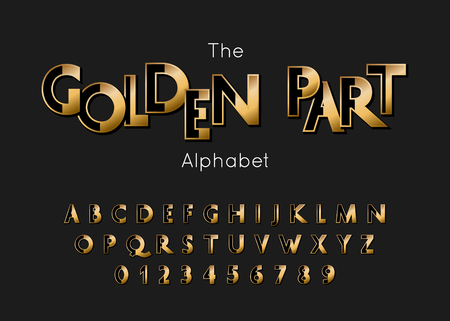Vector Golden Part Alphabet and Font. Gold letters and numbers