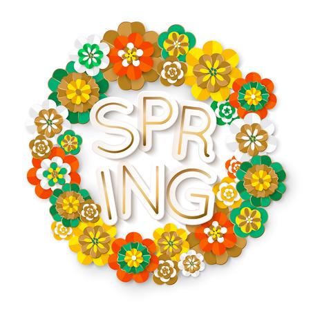 round frame of paper flowers, spring background Ilustração