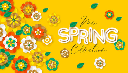 Spring new collection banner layout. Vector illustration Illustration