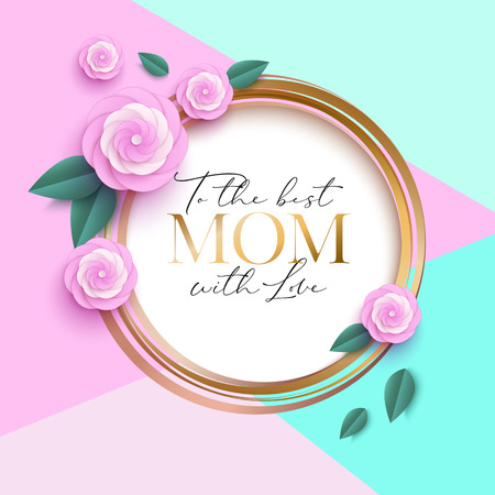 Mothers day greeting cardwith beautiful paper flowers Illustration