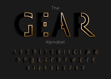 Vector of modern gear alphabet and font Illustration