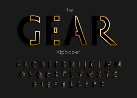 Vector of modern gear alphabet and font Ilustração