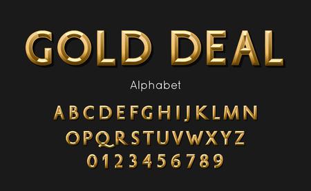 Vector of modern gold deal alphabet and font Illustration