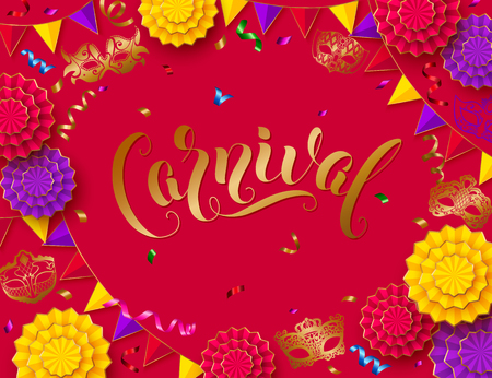 Colorful carnival background with lettering design and streamer, mask, paper flowers