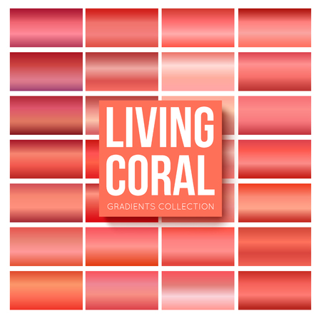 Living coral gradients collection. Rectangular shaped backgrounds with color of the year 2019 Illustration