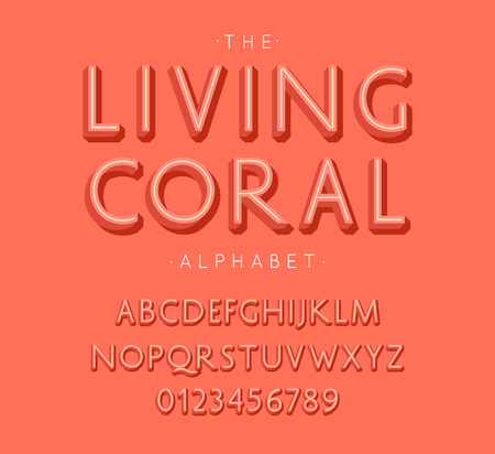 Living Coral Alphabet and Font. Letters and Numbers with color of the year 2019