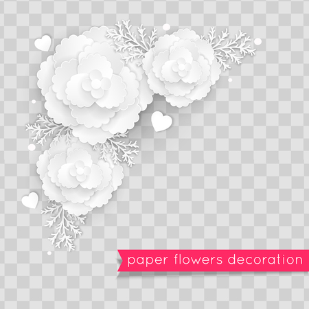 White paper cut flowers. Floral composition. Vector illustration Stock Vector - 123227821