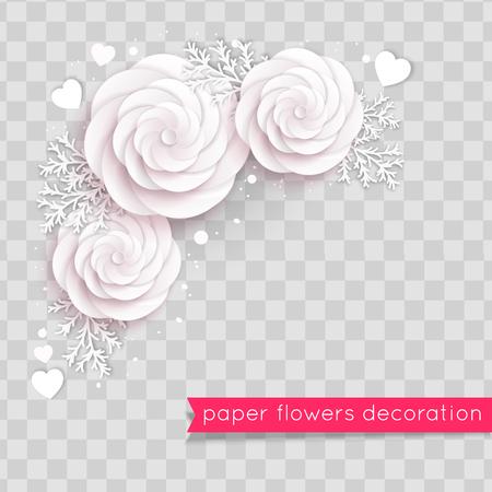 Rosy paper cut flowers. Floral composition. Vector illustration Illustration