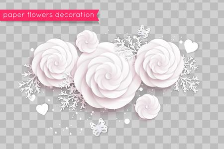 Rosy paper cut flowers. Vector eps 10 format