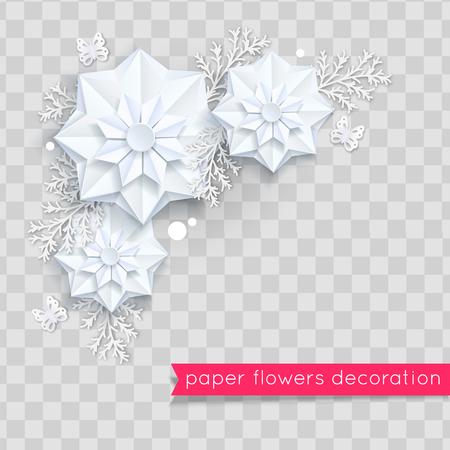 Blue paper cut flowers. Vector eps 10 format