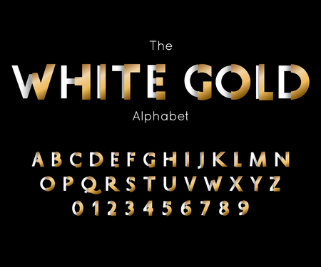 White Gold font and alphabet. Vector letters and numbers