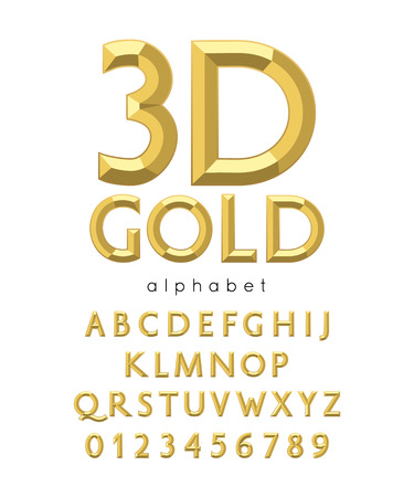 Vector 3d gold alphabet and font. Letters and numbers Illustration